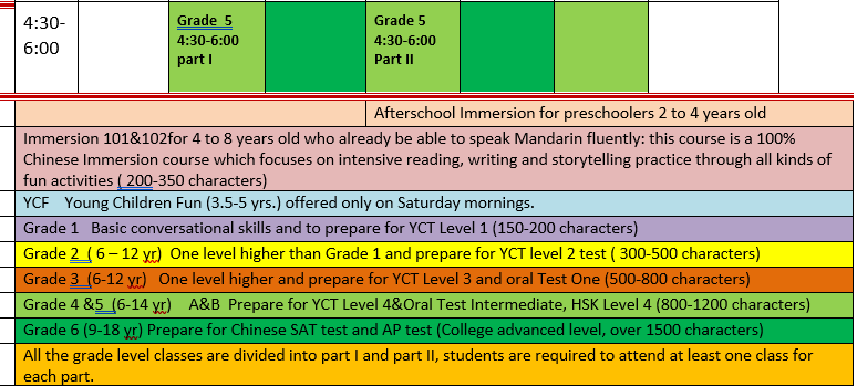 Chinese class schedule 2019 fall part 2
